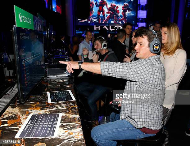 "Actor Nathan Fillion gets hands on with the upcoming ""Halo 5 Guardians"" Multiplayer Beta during HaloFest at the Avalon Theatre on Monday Nov 10 2014..."