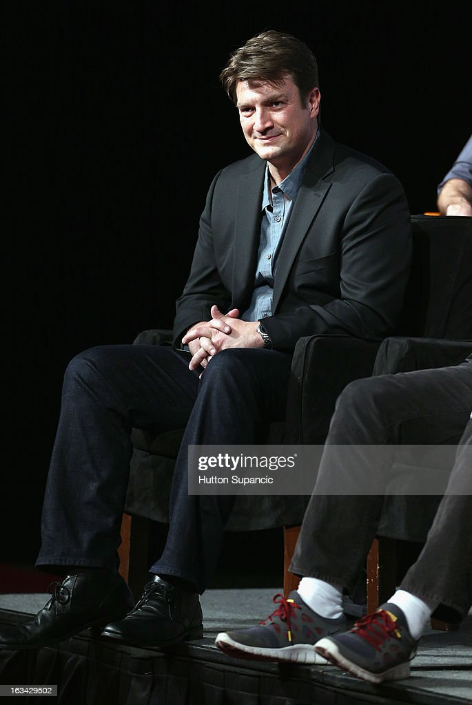 Actor <a gi-track='captionPersonalityLinkClicked' href=/galleries/search?phrase=Nathan+Fillion&family=editorial&specificpeople=834463 ng-click='$event.stopPropagation()'>Nathan Fillion</a> speaks onstage at the Much Ado About Much Ado Panel during the 2013 SXSW Music, Film + Interactive Festival at Austin Convention Center on March 9, 2013 in Austin, Texas.
