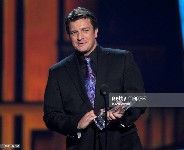 Actor Nathan Fillion winner of Favorite TV Drama Actor speaks onstage at the 39th Annual People's Choice Awards at Nokia Theatre LA Live on January 9...