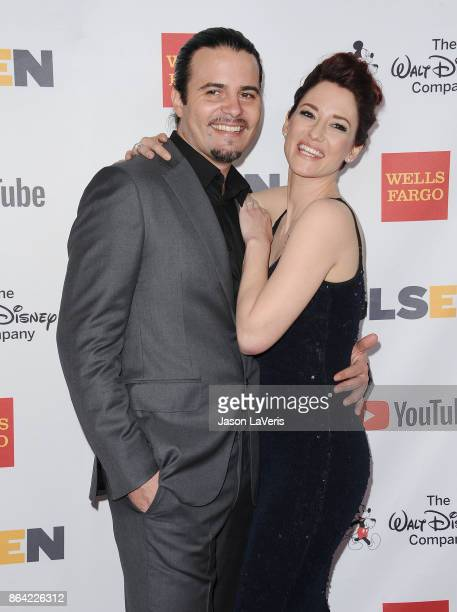 Actor Nathan West and actress Chyler Leigh attend the 2017 GLSEN Respect Awards at the Beverly Wilshire Four Seasons Hotel on October 20 2017 in...