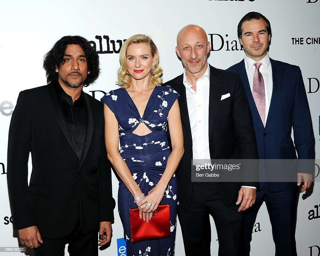 Actor <a gi-track='captionPersonalityLinkClicked' href=/galleries/search?phrase=Naveen+Andrews&family=editorial&specificpeople=693525 ng-click='$event.stopPropagation()'>Naveen Andrews</a>, actress <a gi-track='captionPersonalityLinkClicked' href=/galleries/search?phrase=Naomi+Watts&family=editorial&specificpeople=171723 ng-click='$event.stopPropagation()'>Naomi Watts</a>, director <a gi-track='captionPersonalityLinkClicked' href=/galleries/search?phrase=Oliver+Hirschbiegel&family=editorial&specificpeople=217874 ng-click='$event.stopPropagation()'>Oliver Hirschbiegel</a> and producer Robert Bernstein attend The Cinema Society with Linda Wells & Allure Magazine premiere of Entertainment One's 'Diana' at SVA Theater on October 30, 2013 in New York City.