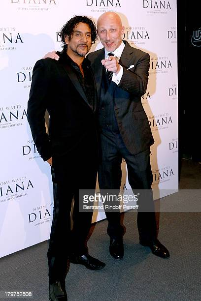Actor Naveen Andrews and director Oliver Hirschbiegel attend 'Diana' Paris movie premiere at Cinema UGC Normandie on September 6 2013 in Paris France