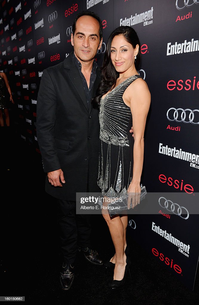 Actor Navid Negahban and Tehmina Sunny attend the Entertainment Weekly Pre-SAG Party hosted by Essie and Audi held at Chateau Marmont on January 26, 2013 in Los Angeles, California.