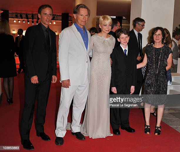 Actor Neal Huff actor Bruce Greenwood actress Michelle Williams actor Tommy Nelson and Director Kelly Reichardt attends the 'Meek's Cutoff' premiere...