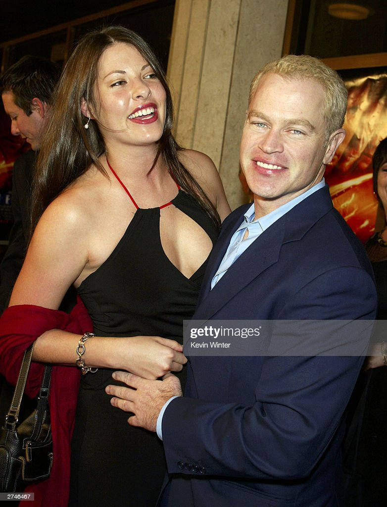 Actor Neal McDonough (R) and fiancee Ruve Robertson arrive at the premiere of 'Timeline' at the National Theatre on November 19, 2003 in Los Angeles, California.