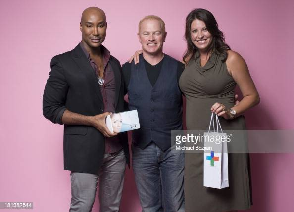 Actor Neal McDonough and wife Ruve McDonough recieve gifts from Marc Harvey's 'Element 2 Beauty' system and Sherrie Berry's 'Skin Again' at the Mark...
