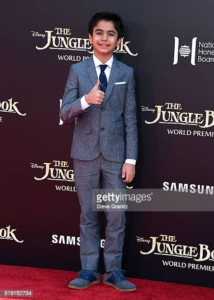 Actor Neel Sethi attends the premiere of Disney's 'The Jungle Book' at the El Capitan Theatre on April 4 2016 in Hollywood California