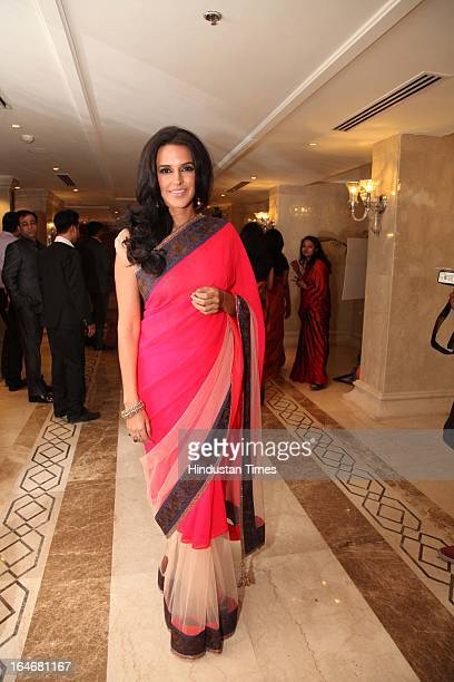 Actor Neha Dhupia during Annaprashan ceremony of Subrata Roy's granddaughter Roshna on March 20 2013 in New Delhi India