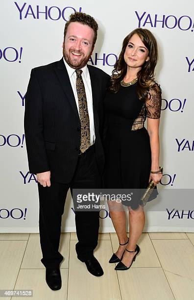 Actor Neil Casey and actress Milana Vayntrub attend Yahoo Screen Launch Party For Paul Feig's 'Other Space' at The London West Hollywood on April 14...