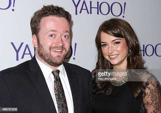 Actor Neil Casey and Milana Vayntrub attend the launch party for Paul Feig's new show 'Other Space' at The London on April 14 2015 in West Hollywood...