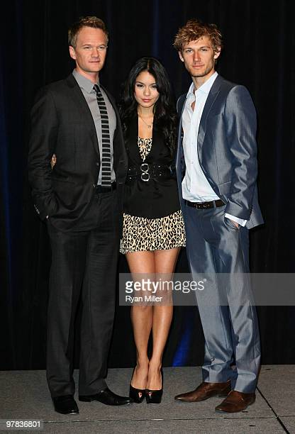 Actor Neil Patrick Harris actress Vanessa Hudgens and actor Alex Pettyfer arrive at the CBS Films luncheon during ShoWest 2010 held at Paris Las...