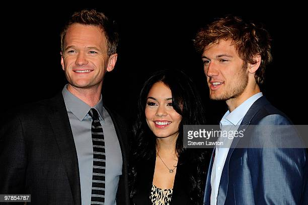 Actor Neil Patrick Harris actress Vanessa Hudgens and actor Alex Pettyfer arrive at the CBS Films presentation to promote their upcoming movie...