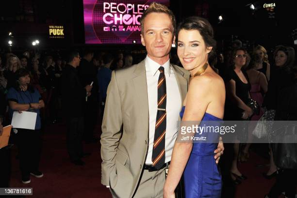 Actor Neil Patrick Harris and actress Cobie Smulders arrive at the 2012 People's Choice Awards at Nokia Theatre LA Live on January 11 2012 in Los...