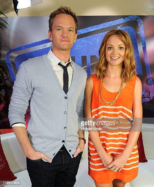 Actor Neil Patrick Harris and actress Jayma Mays visit YoungHollywoodcom at Young Hollywood Studio on July 12 2011 in Los Angeles California