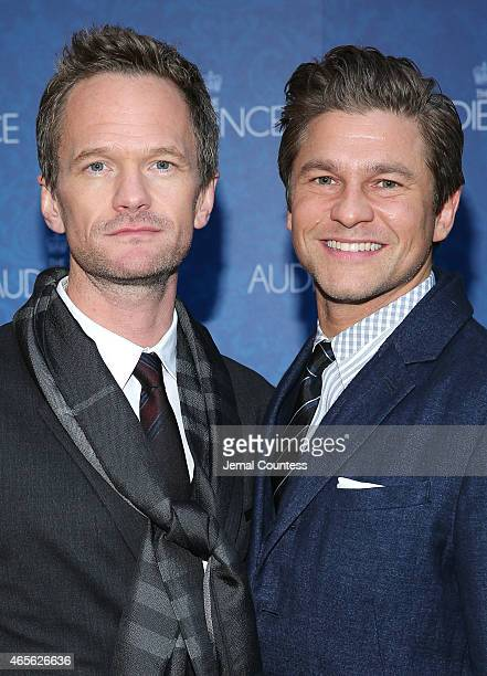 Actor Neil Patrick Harris and David Burtka attend the Broadway Opening night of 'The Audience' at the Gerald Schoenfeld Theatre on March 8 2015 in...