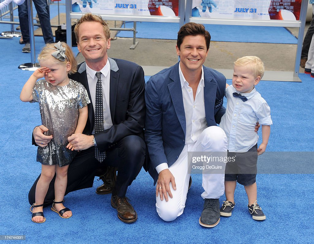 Actor <a gi-track='captionPersonalityLinkClicked' href=/galleries/search?phrase=Neil+Patrick+Harris&family=editorial&specificpeople=210509 ng-click='$event.stopPropagation()'>Neil Patrick Harris</a>, <a gi-track='captionPersonalityLinkClicked' href=/galleries/search?phrase=David+Burtka&family=editorial&specificpeople=572242 ng-click='$event.stopPropagation()'>David Burtka</a> and kids Harper Grace and Gideon Scott arrive at the Los Angeles premiere of 'Smurfs 2' at Regency Village Theatre on July 28, 2013 in Westwood, California.