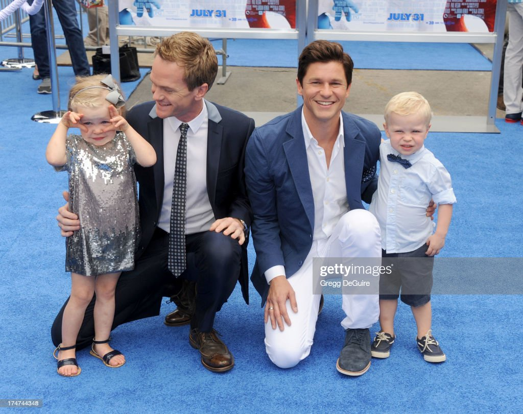 Actor Neil Patrick Harris, David Burtka and kids Harper Grace and Gideon Scott arrive at the Los Angeles premiere of 'Smurfs 2' at Regency Village Theatre on July 28, 2013 in Westwood, California.