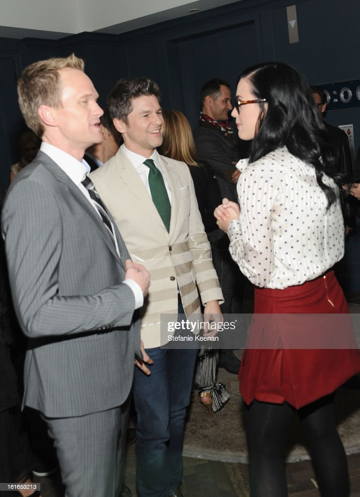 Actor Neil Patrick Harris, David Burtka and singer Katy Perry attend Tommy Hilfiger New West Coast Flagship Opening After Party at a Private Club on February 13, 2013 in West Hollywood, California.