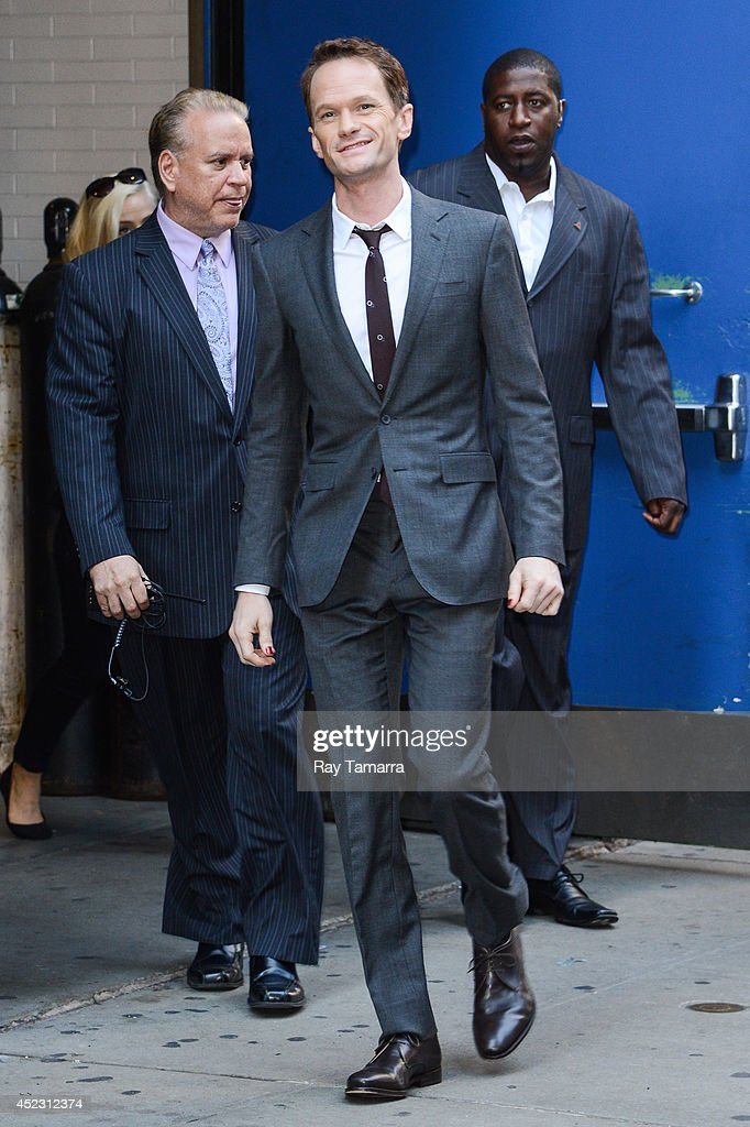 Actor <a gi-track='captionPersonalityLinkClicked' href=/galleries/search?phrase=Neil+Patrick+Harris&family=editorial&specificpeople=210509 ng-click='$event.stopPropagation()'>Neil Patrick Harris</a> leaves the 'Good Morning America' taping at the ABC Times Square Studios on July 17, 2014 in New York City.