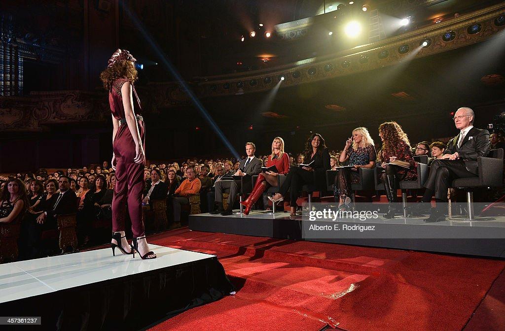 Actor Neil Patrick Harris, model Heidi Klum, designer Rachel Roy, fashion editor Zana Roberts Rassi, stylist Jen Rade and TV host Tim Gunn attend the 'Under The Gunn' Finale Fashion Show at Los Angeles Theatre on December 16, 2013 in Los Angeles, California.