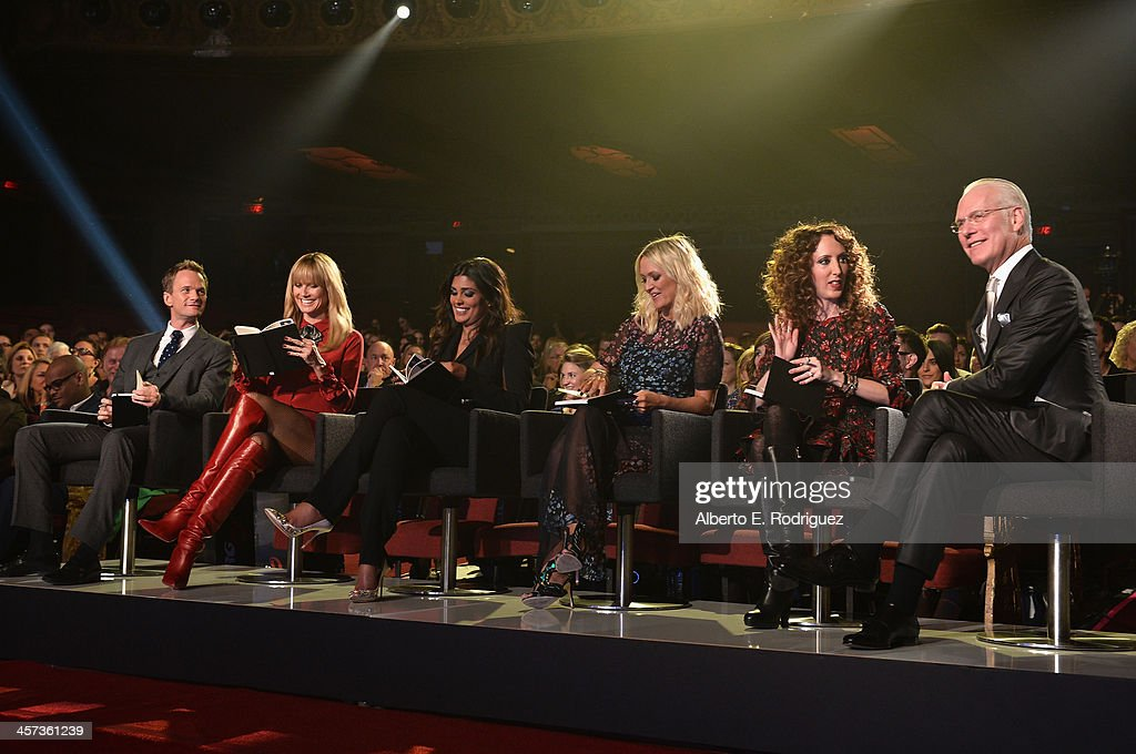Actor Neil Patrick Harris, model Heidi Klum, designer Rachel Roy, fashion editor Zana Roberts Rassi, stylist Jen Rade and TV host Tim Gunn attend the 'Under The Gunn' Finale Fashion Show at Los Angeles Theatre on December 16, 2013 in Los Angeles, California.