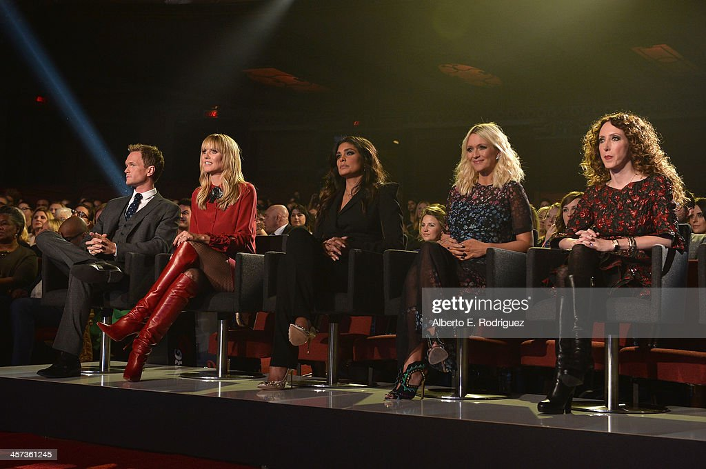 Actor Neil Patrick Harris, model Heidi Klum, designer Rachel Roy, fashion editor Zana Roberts Rassi and stylist Jen Rade attend the 'Under The Gunn' Finale Fashion Show at Los Angeles Theatre on December 16, 2013 in Los Angeles, California.