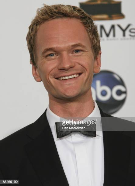 Actor Neil Patrick Harris poses in the press room during the 60th Primetime Emmy Awards at the Nokia Theatre on September 21 2008 in Los Angeles...
