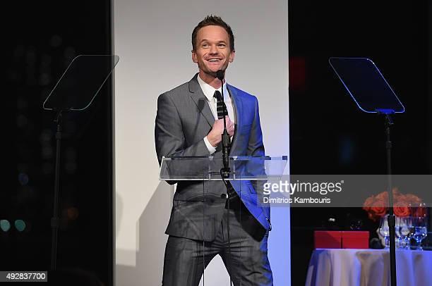 Actor Neil Patrick Harris speaks during God's Love We Deliver Golden Heart Awards at Spring Studio on October 15 2015 in New York City