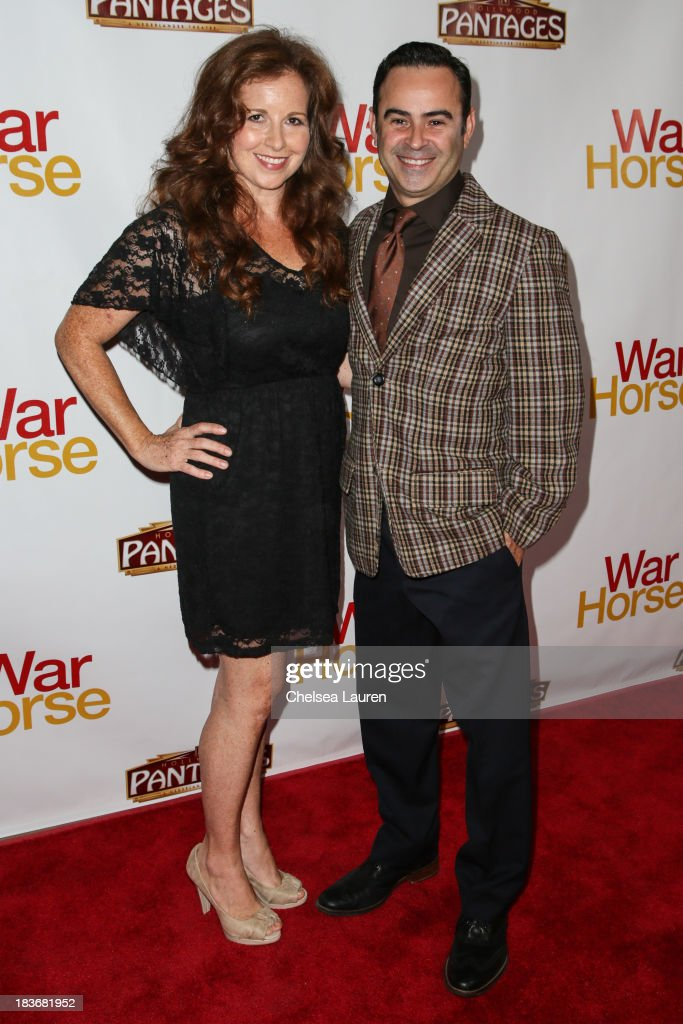 Actor Nelson Ascencio (R) attends the 'War Horse' red carpet opening night at the Pantages Theatre on October 8, 2013 in Hollywood, California.