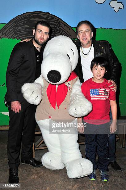 Actor Nicholas Cage visits Knott's Berry Farm with sons Weston and KalEl on September 12 2015 in Buena Park California