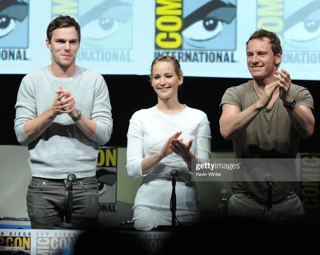 Actor <a gi-track='captionPersonalityLinkClicked' href=/galleries/search?phrase=Nicholas+Hoult&family=editorial&specificpeople=598892 ng-click='$event.stopPropagation()'>Nicholas Hoult</a>, actress <a gi-track='captionPersonalityLinkClicked' href=/galleries/search?phrase=Jennifer+Lawrence&family=editorial&specificpeople=1596040 ng-click='$event.stopPropagation()'>Jennifer Lawrence</a> and actor <a gi-track='captionPersonalityLinkClicked' href=/galleries/search?phrase=Michael+Fassbender&family=editorial&specificpeople=4157925 ng-click='$event.stopPropagation()'>Michael Fassbender</a> speak at the 20th Century Fox 'X-Men: Days of Future Past' panel during Comic-Con International 2013 at San Diego Convention Center on July 20, 2013 in San Diego, California.