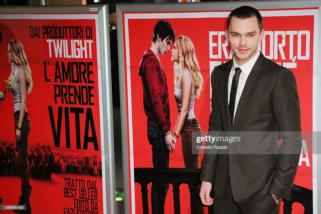 Actor <a gi-track='captionPersonalityLinkClicked' href=/galleries/search?phrase=Nicholas+Hoult&family=editorial&specificpeople=598892 ng-click='$event.stopPropagation()'>Nicholas Hoult</a> attends the 'Warm Bodies' Premiere at Cinema Adriano on January 16, 2013 in Rome, Italy.