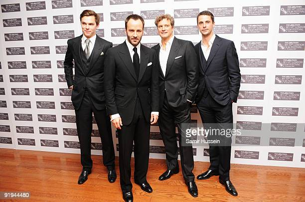 Actor Nicholas Hoult director Tom Ford actor Colin Firth and actor Matthew Goode arrive for the premiere of 'A Single Man' during the Times BFI 53rd...
