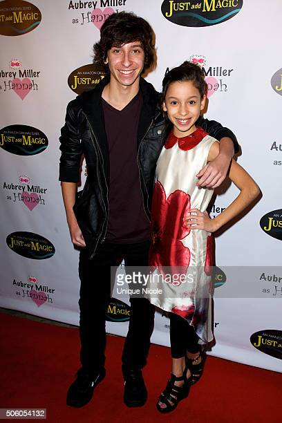 Actor Nick Alvarez with sister actress Izabella Alvarez attend the private screening of Amazon's 'Just Add Magic' at the Chaplin Theater at Raleigh...