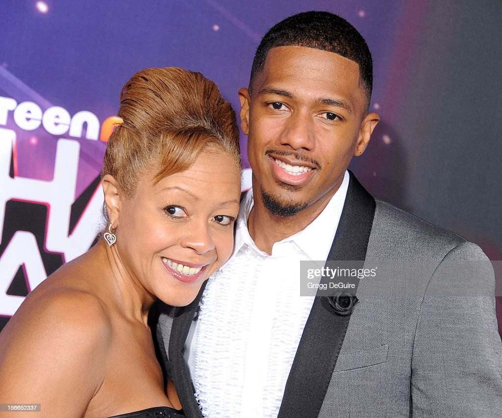Actor <a gi-track='captionPersonalityLinkClicked' href=/galleries/search?phrase=Nick+Cannon&family=editorial&specificpeople=202208 ng-click='$event.stopPropagation()'>Nick Cannon</a> and mother Beth Hackett arrive at the TeenNick HALO Awards at The Hollywood Palladium on November 17, 2012 in Los Angeles, California.