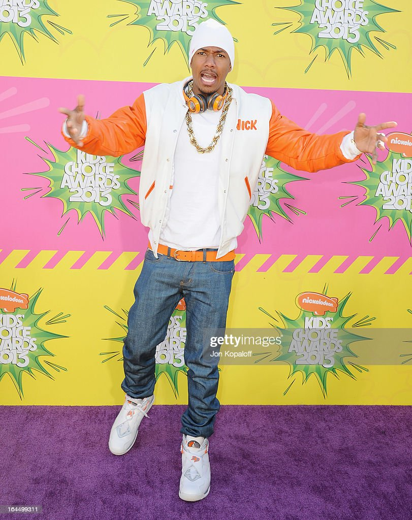 Actor <a gi-track='captionPersonalityLinkClicked' href=/galleries/search?phrase=Nick+Cannon&family=editorial&specificpeople=202208 ng-click='$event.stopPropagation()'>Nick Cannon</a> arrives at Nickelodeon's 26th Annual Kids' Choice Awards at USC Galen Center on March 23, 2013 in Los Angeles, California.