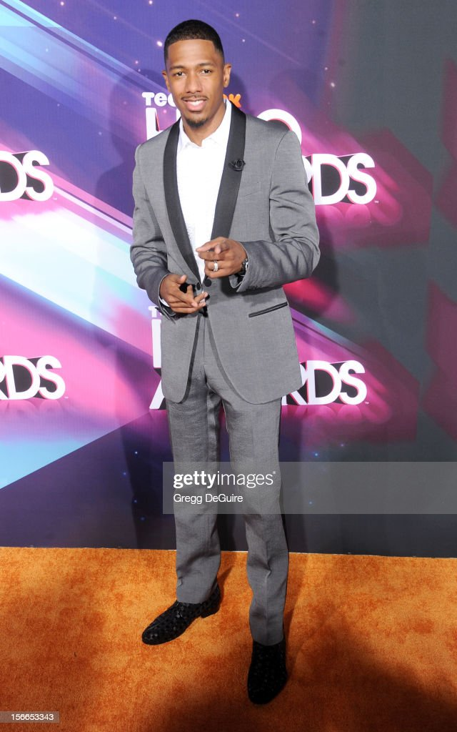 Actor <a gi-track='captionPersonalityLinkClicked' href=/galleries/search?phrase=Nick+Cannon&family=editorial&specificpeople=202208 ng-click='$event.stopPropagation()'>Nick Cannon</a> arrives at the TeenNick HALO Awards at The Hollywood Palladium on November 17, 2012 in Los Angeles, California.