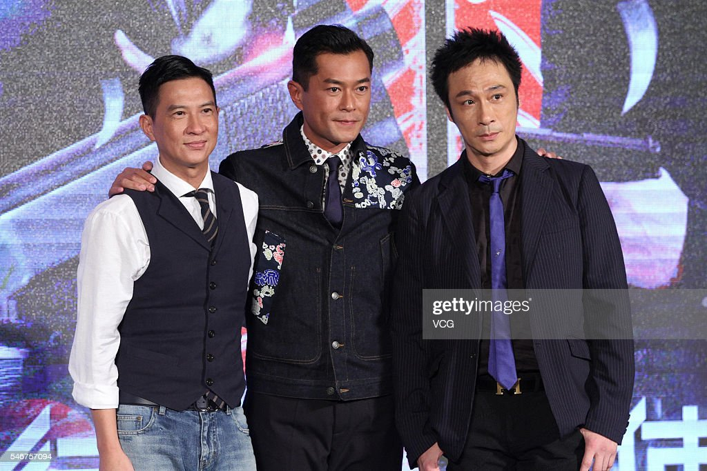 Actor Nick Cheung, actor Louis Koo and singer and actor Francis Ng attend a press conference for movie version 'Line Walker' on July 12, 2016 in Beijing, China.