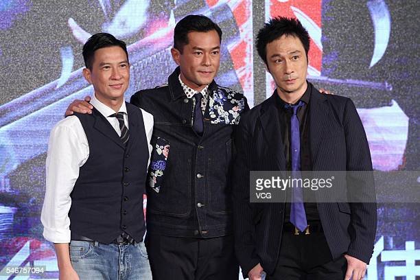 Actor Nick Cheung actor Louis Koo and singer and actor Francis Ng attend a press conference for movie version 'Line Walker' on July 12 2016 in...