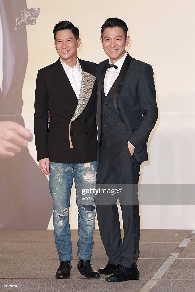 Actor Nick Cheung (L) and actor Andy Lau attends the gala premiere of director Andrew Lau and director Wong Jing's film 'From Vegas To Macau III' on January 31, 2016 in Hong Kong, China.