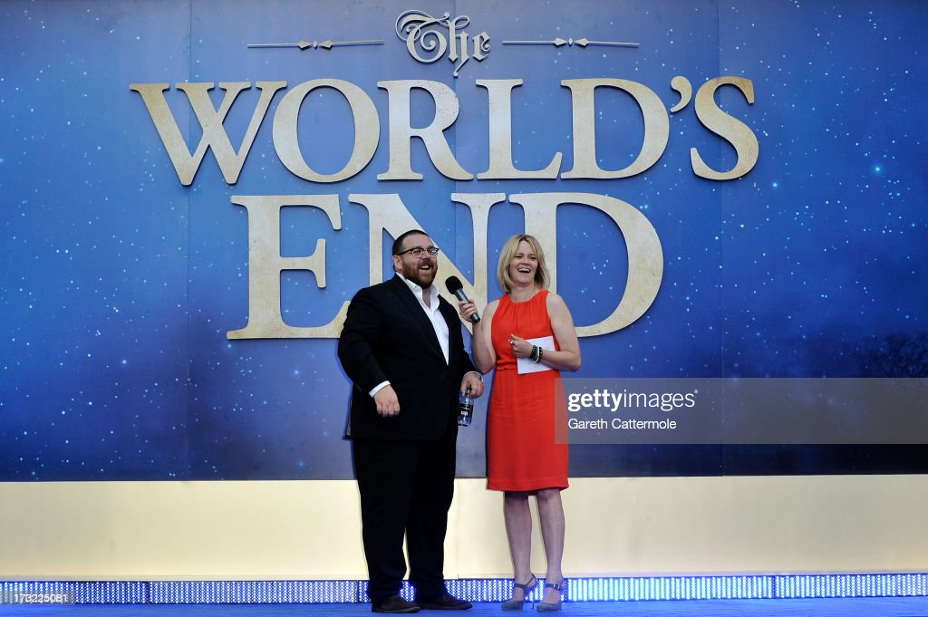 Actor Nick Frost is interviewed by <a gi-track='captionPersonalityLinkClicked' href=/galleries/search?phrase=Edith+Bowman&family=editorial&specificpeople=209427 ng-click='$event.stopPropagation()'>Edith Bowman</a> as she attends the World Premiere of The World's End at Empire Leicester Square on July 10, 2013 in London, England.