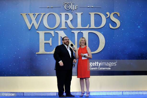 Actor Nick Frost is interviewed by Edith Bowman as she attends the World Premiere of The World's End at Empire Leicester Square on July 10 2013 in...