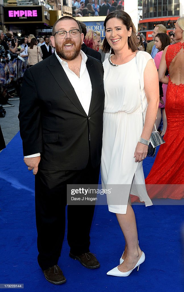 Actor Nick Frost with wife Christina Frost attend 'The World's End' world premiere at the Empire Leicester Square on July 10, 2013 in London, England.