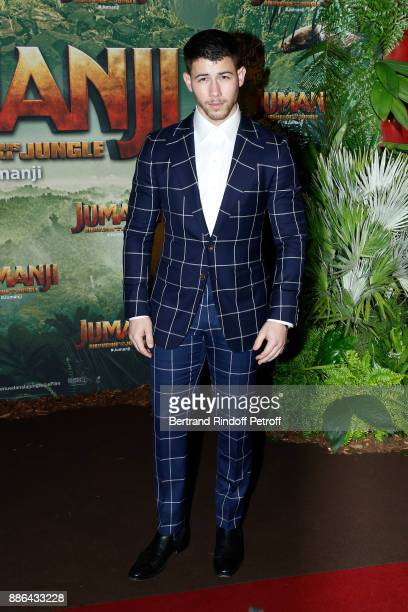 Actor Nick Jonas attends the 'Jumanji Welcome to the Jungle Jumanji Bienvenue dans la jungle' Paris Premiere at Le Grand Rex on December 5 2017 in...