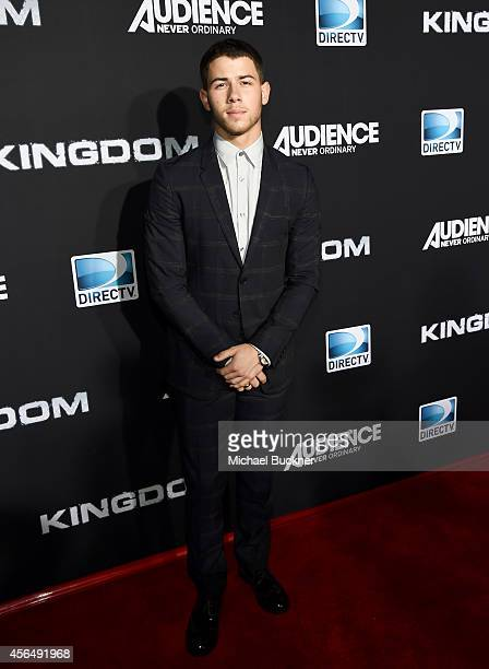 Actor Nick Jonas attends the Premiere Event for DIRECTV's KINGDOM on October 1 2014 in Venice California