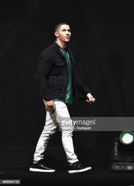 Actor Nick Jonas speaks onstage during the CinemaCon 2017 Gala Opening Night Event Sony Pictures Highlights its 2017 Summer and Beyond Films for...