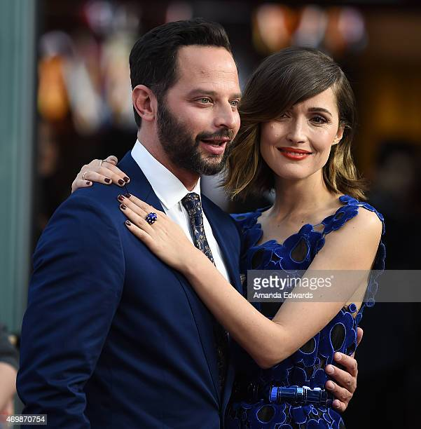Actor Nick Kroll and actress Rose Byrne arrive at the Los Angeles premiere of 'Adult Beginners' at the ArcLight Hollywood on April 15 2015 in...