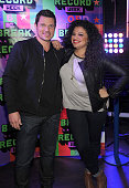 Actor Nick Lachey and Michelle Buteau attend the 2015 MTV Break the Record Week DanceAThonat Times Square on March 10 2015 in New York City