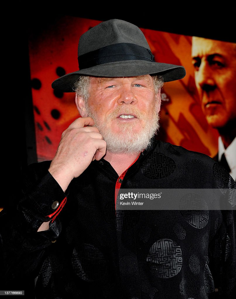 Actor <a gi-track='captionPersonalityLinkClicked' href=/galleries/search?phrase=Nick+Nolte&family=editorial&specificpeople=206370 ng-click='$event.stopPropagation()'>Nick Nolte</a> arrives at the premiere of HBO's 'Luck' at the Chinese Theater on January 25, 2012 in Los Angeles, California.