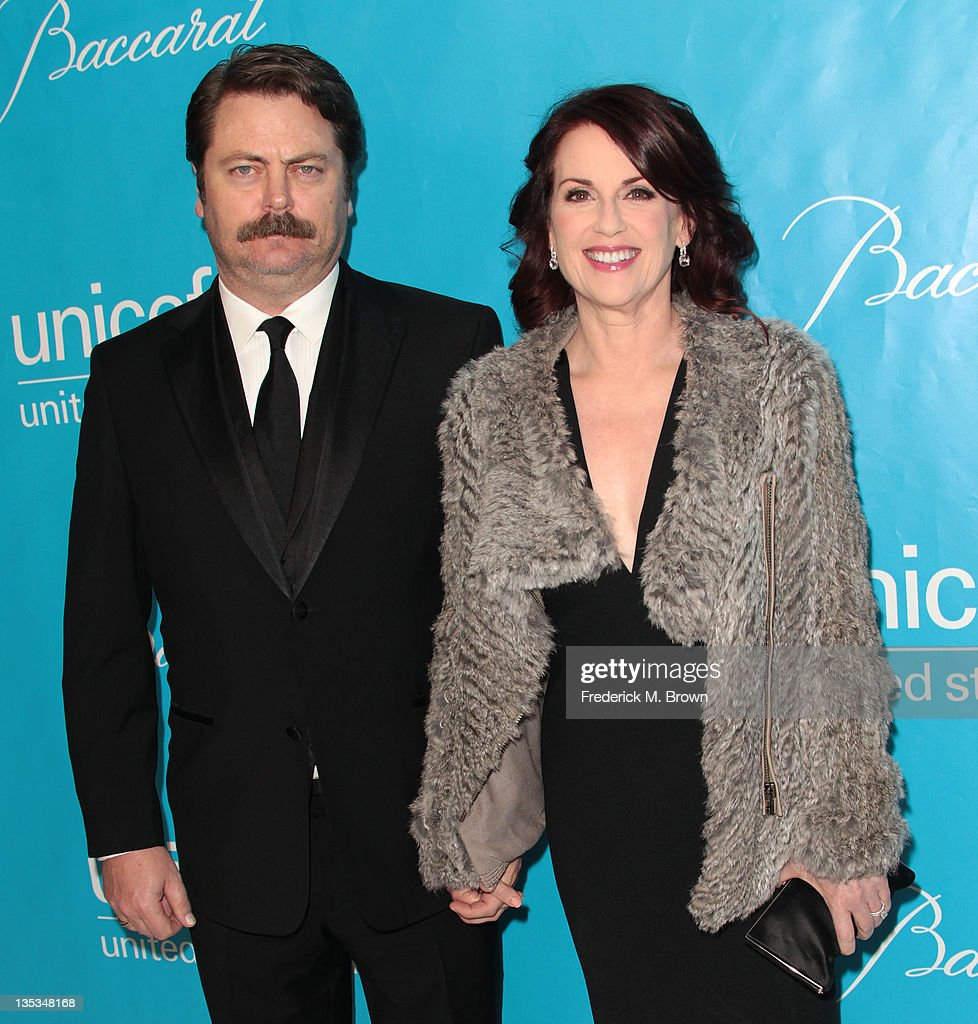 Actor <a gi-track='captionPersonalityLinkClicked' href=/galleries/search?phrase=Nick+Offerman&family=editorial&specificpeople=3142027 ng-click='$event.stopPropagation()'>Nick Offerman</a> (L) and actress Megan Mulally attend The 2011 Unicef Ball at The Beverly Wilshire Hotel on December 8, 2011 in Beverly Hills, California